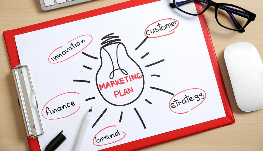 Paper sheet with Marketing Plan drawing